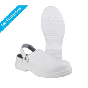 FS512 SB2 E A SRC Washable, Metal Free White Safety Clogs with Composite Toe Protection
