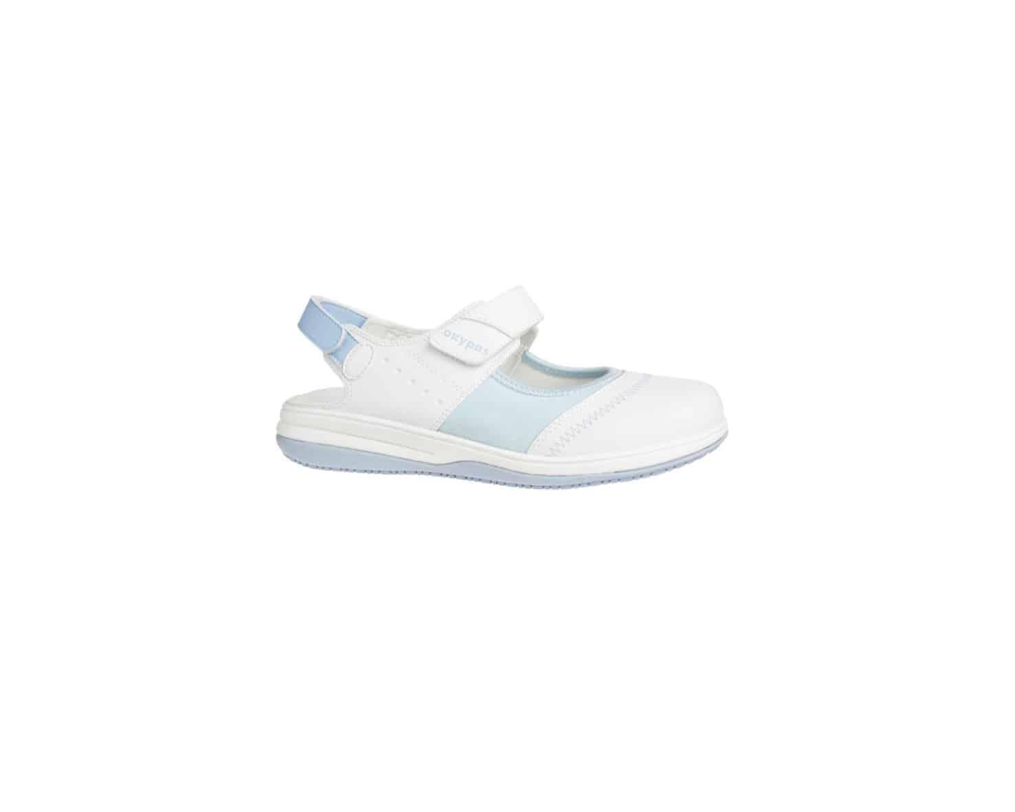 White with Light Blue Trim