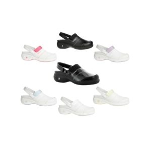 Oxypas Move Up Sandy Leather Nurses Clog with Raised Heel from Safety Jogger Professional EN ISO 20347 OB SRC ESD