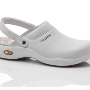 Oxypas Ultralight Heidi White Leather-Lined Nursing Clog with Anti-slip and Anti-static