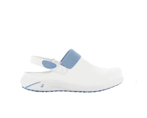 Dany Clogs for Nurses in white with light blue