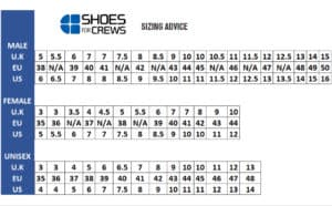 Shoes for Crews Size Chart